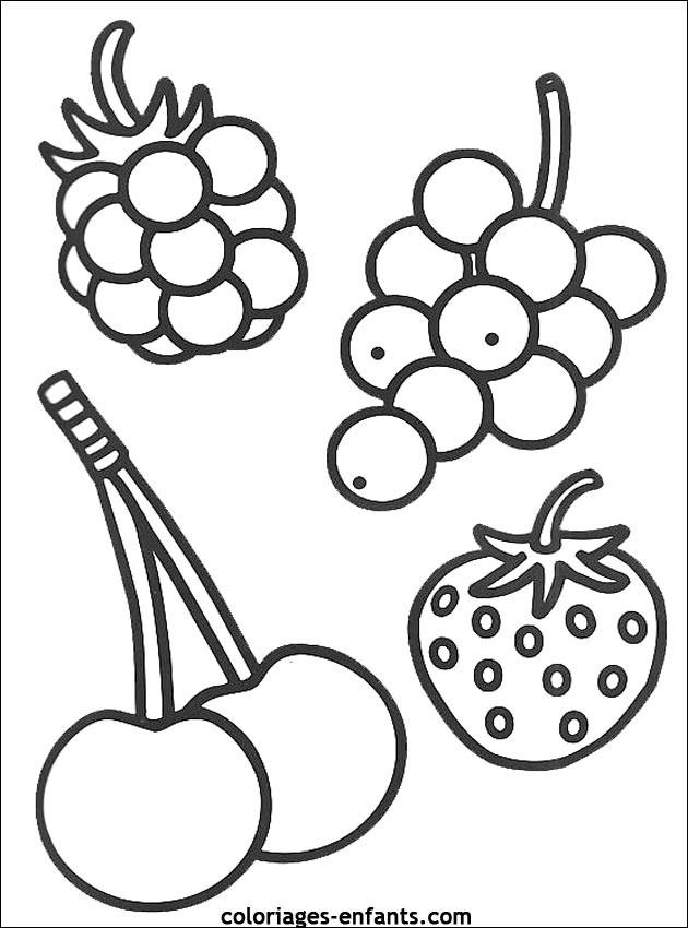 Coloriage fruits en noir et blanc dessin gratuit imprimer - Fruits coloriage ...