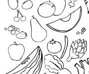 Coloriage Fruits et Légumes de Juillet