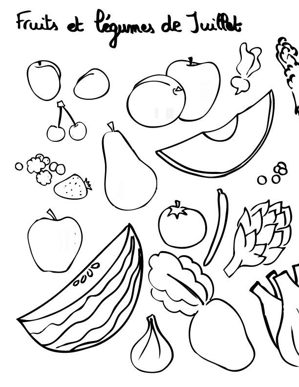 Coloriage Fruits Et Légumes De Juillet Dessin Gratuit à Imprimer