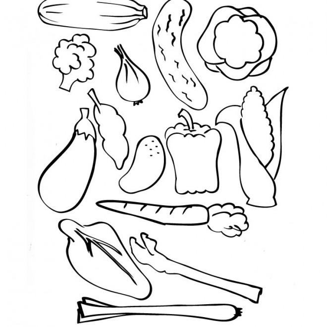 Coloriage et dessins gratuits Légumes à décorer à imprimer