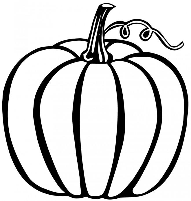 Coloriage et dessins gratuits Légumes Citrouille en noir à imprimer