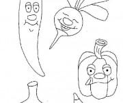 Coloriage Légumes en bon humeur