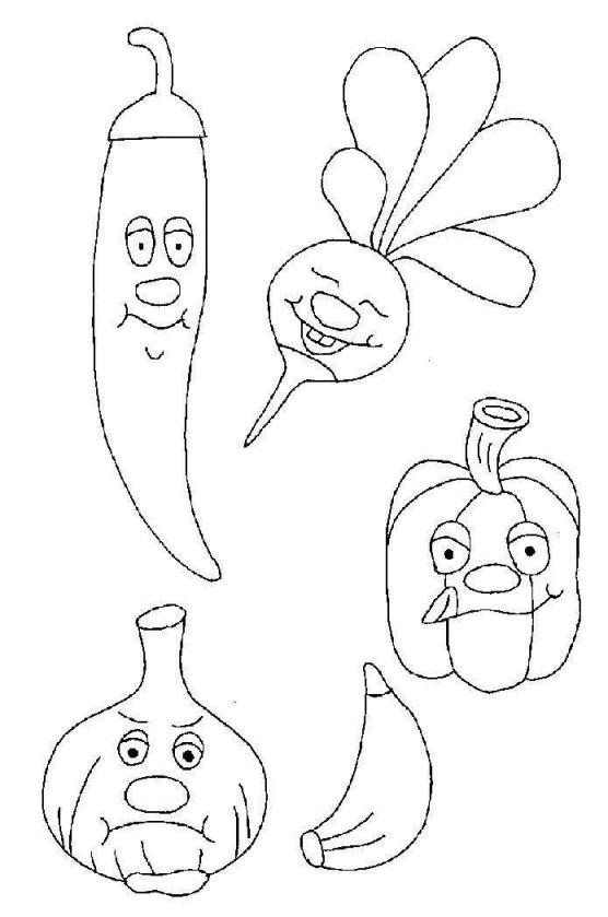 Coloriage et dessins gratuits Légumes en bon humeur à imprimer