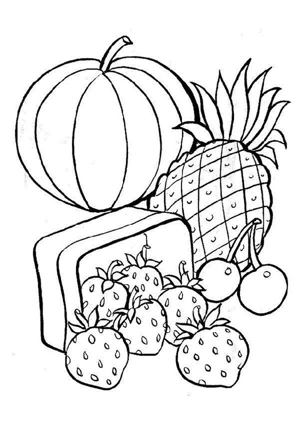 Coloriage l gumes et fruits de printemps dessin gratuit - Fruits a colorier et a imprimer ...