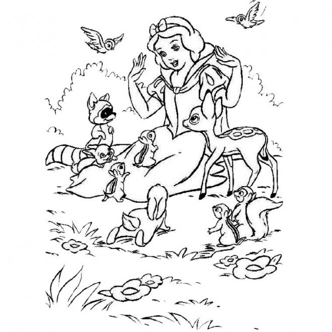 Coloriage et dessins gratuits Animaux  et Princesse Forêt à imprimer