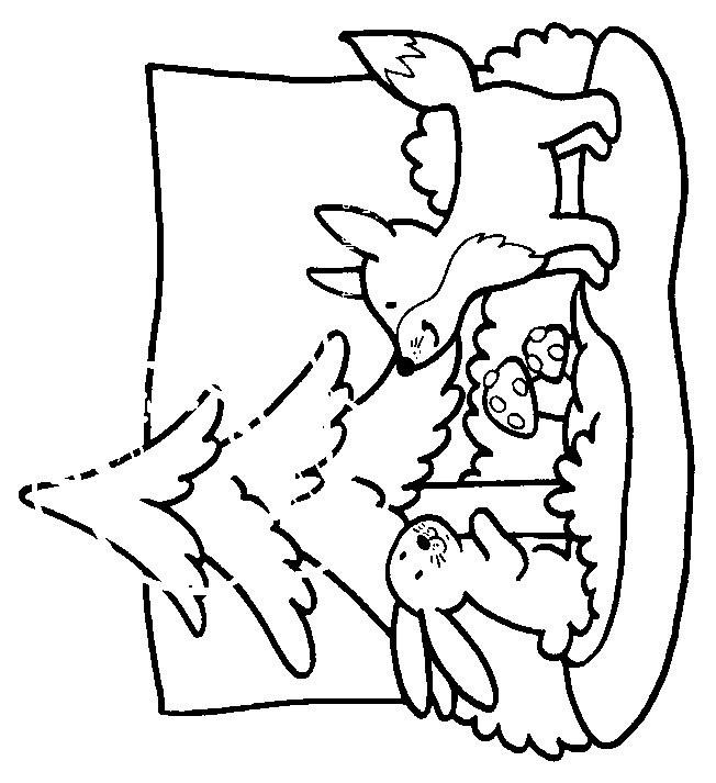 Coloriage et dessins gratuits Animaux Forêt en noir et blanc à imprimer