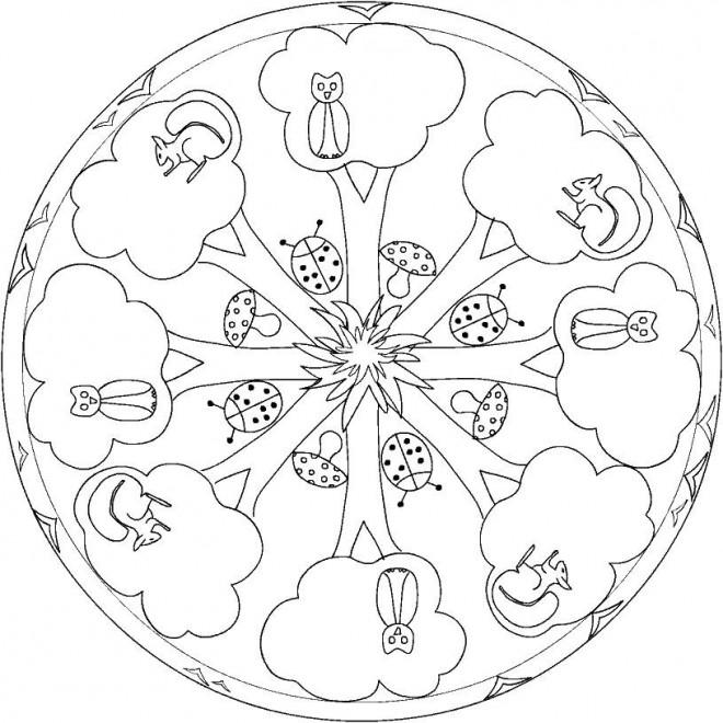 Coloriage et dessins gratuits Arbres de Forêt mandala à imprimer