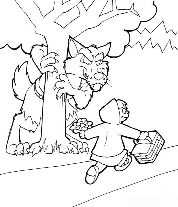Coloriage et dessins gratuits Chaperon rouge Forêt à imprimer