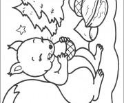 Coloriage et dessins gratuit Écureuil dans la Forêt à imprimer