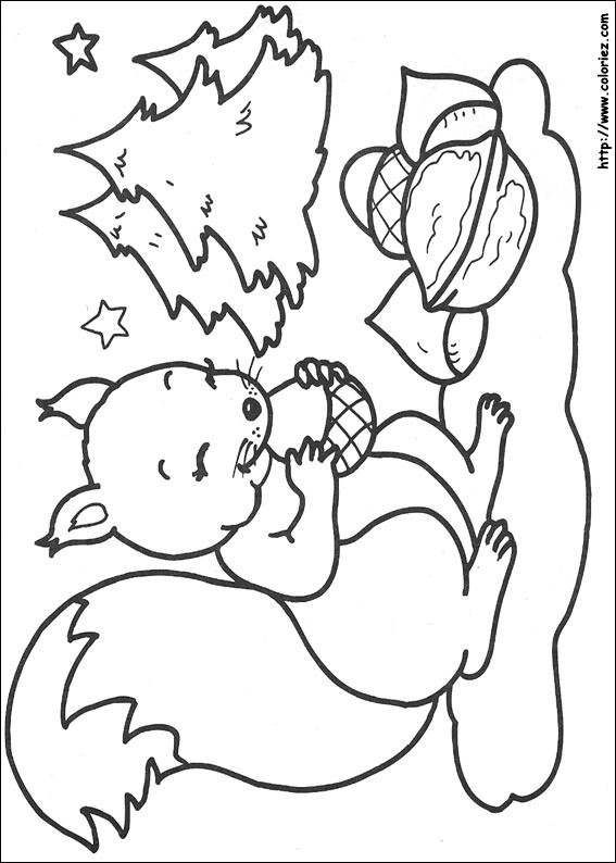 Coloriage et dessins gratuits Écureuil dans la Forêt à imprimer