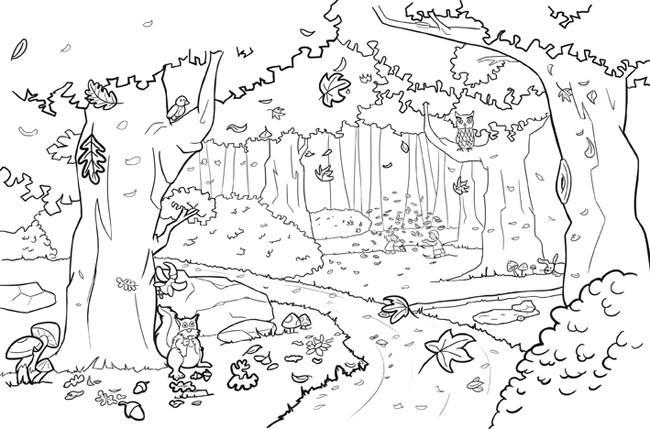 Coloriage et dessins gratuits Forêt vecteur à imprimer