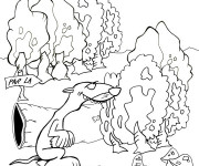 Coloriage Furet Forêt dessin animé