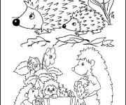 Coloriage Hérisson en famille dans La forêt