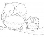 Coloriage et dessins gratuit Hibou Forêt à imprimer