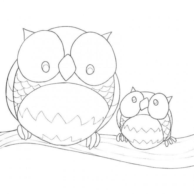Coloriage et dessins gratuits Hibou Forêt à imprimer