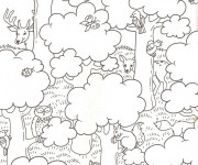 Coloriage La forêt et les animaux pour enfant