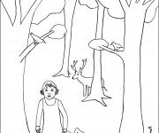 Coloriage La petite fille dans La forêt