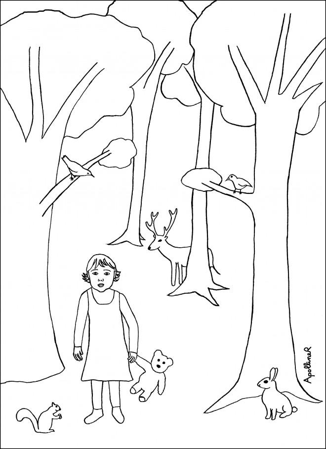 Coloriage et dessins gratuits La petite fille dans La forêt à imprimer