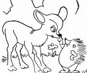 Coloriage Le Hérisson et le petit Cerf  forêt