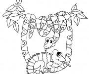 Coloriage le Serpent dans la forêt