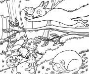 Coloriage Les enfant s'amusent dans La forêt