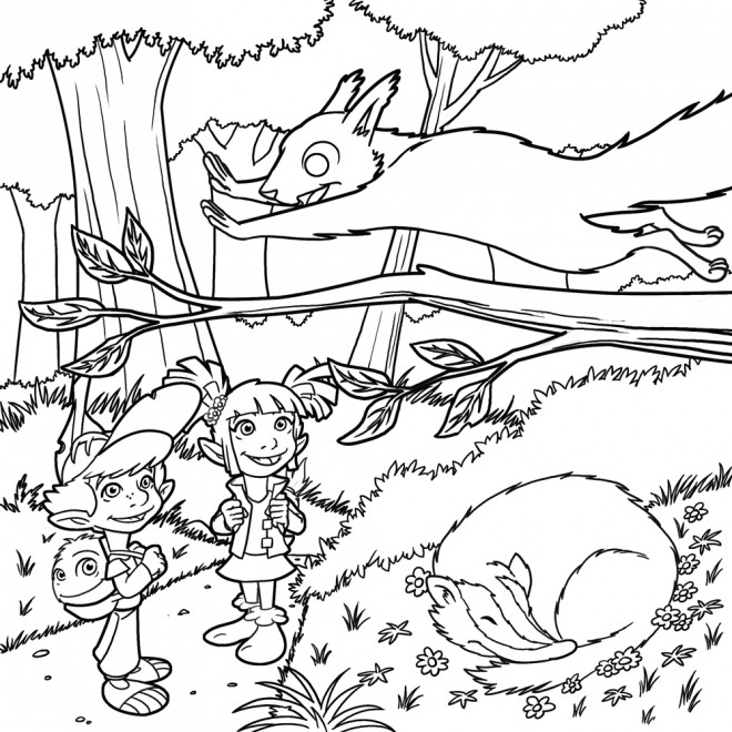 Coloriage et dessins gratuits Les enfant s'amusent dans La forêt à imprimer