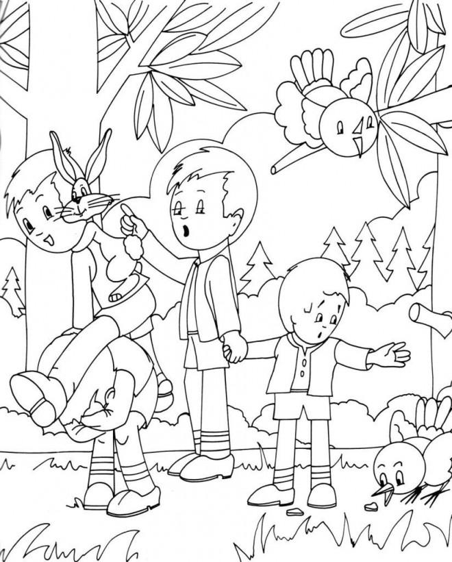 Coloriage et dessins gratuits Les Enfants dans la Forêt à imprimer