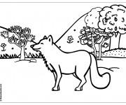 Coloriage Loup heureux dans la  Forêt