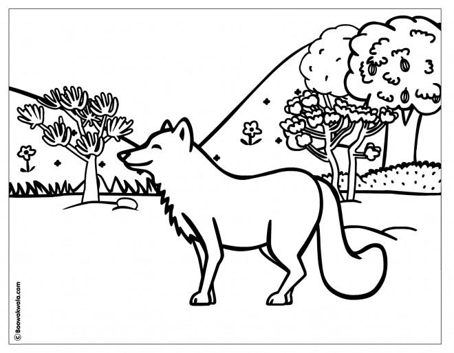 Coloriage et dessins gratuits Loup heureux dans la  Forêt à imprimer