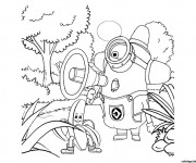 Coloriage Robot dans La forêt dessin animé