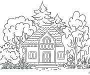 Coloriage Une maison dans La forêt