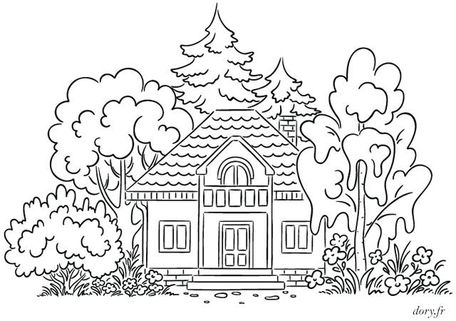 Coloriage Maison Dans La Foret.Coloriage Une Maison Dans La Foret Dessin Gratuit A Imprimer