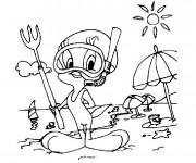 Coloriage et dessins gratuit A La Plage dessin animé à imprimer
