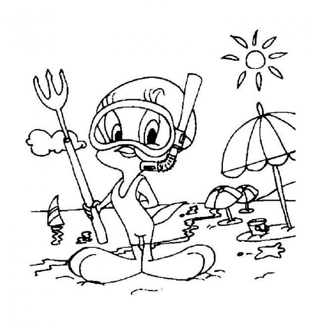 Coloriage et dessins gratuits A La Plage dessin animé à imprimer