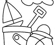 Coloriage et dessins gratuit Ballon de Plage sous le soleil à imprimer