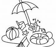 Coloriage et dessins gratuit Ballon, parasol et jouets de plage à imprimer