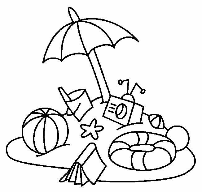 Coloriage ballon parasol et jouets de plage dessin gratuit imprimer - Coloriage plage ...