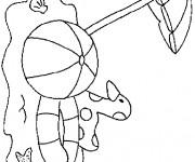 Coloriage et dessins gratuit Ballon sous la parasol dans La plage à imprimer