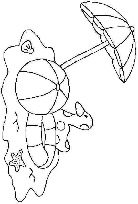 Coloriage et dessins gratuits Ballon sous la parasol dans La plage à imprimer