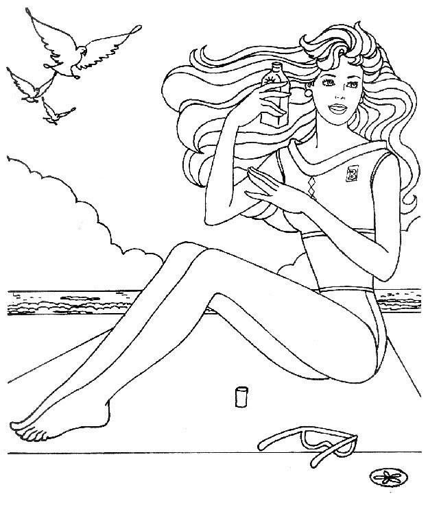 Coloriage et dessins gratuits Belle Femme sur La Plage à imprimer