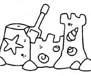 Coloriage et dessins gratuit Château de sable Plage à imprimer