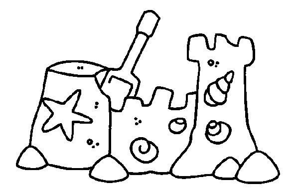 Coloriage et dessins gratuits Château de sable Plage à imprimer