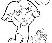 Coloriage et dessins gratuit Dora à la plage à imprimer