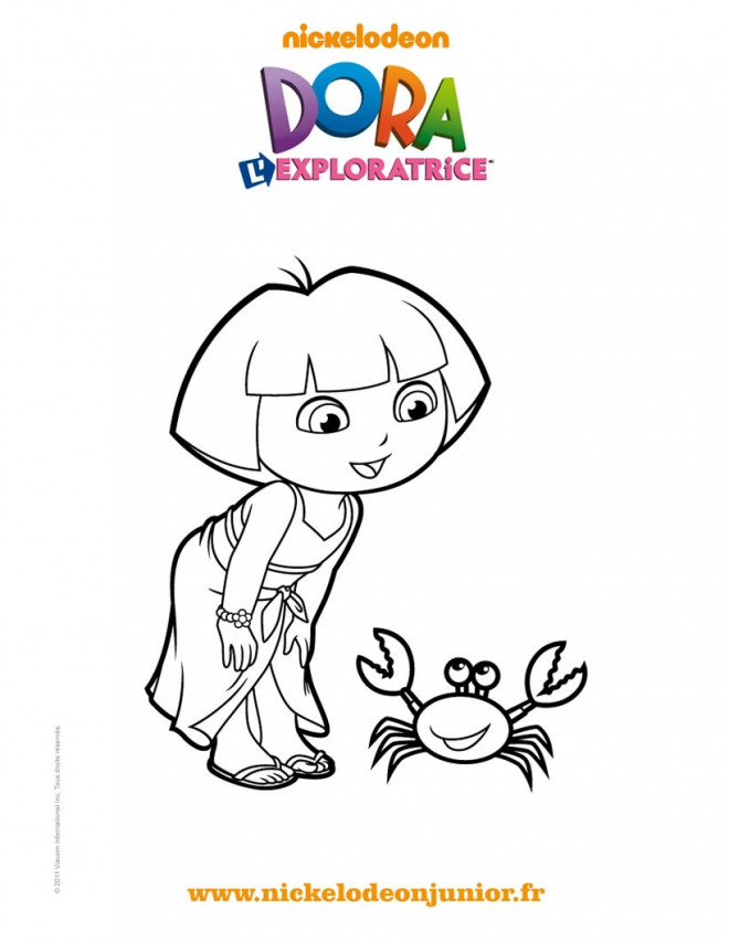 Coloriage Dora L Exploratrice Et La Plage Dessin Gratuit A Imprimer