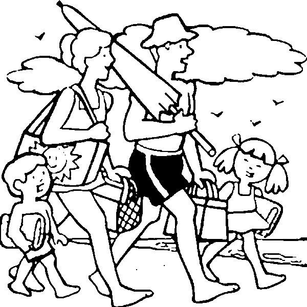 Coloriage et dessins gratuits Famille se dirige vers La Plage à imprimer
