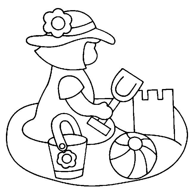 Coloriage et dessins gratuits Fille et Château de Sable à imprimer