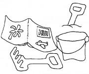 Coloriage et dessins gratuit Jouets sur la Plage à imprimer