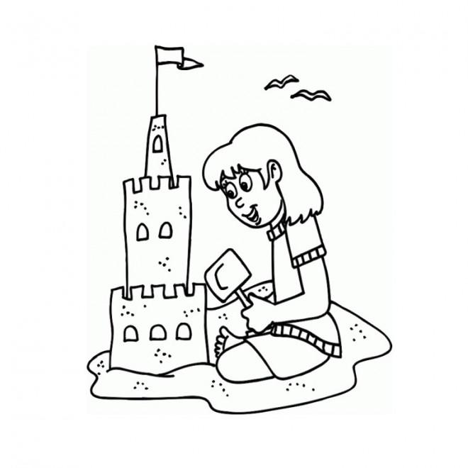 Coloriage et dessins gratuits La Fille construit son château à imprimer