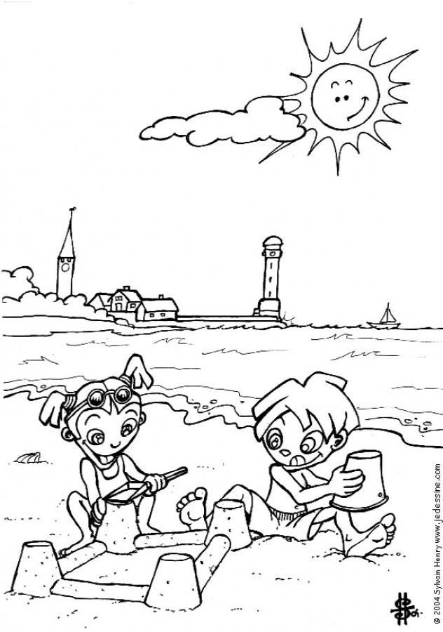Coloriage et dessins gratuits La Plage en jour ensoleillé à imprimer