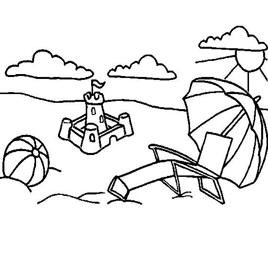 Coloriage et dessins gratuits La Plage en noir pour enfants à imprimer